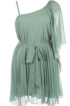 Ethereal Sage Dress: Features a beautiful one-shoulder design with a fluttery chiffon sleeve to the left, removable tonal ribbon belt, rippling chiffon fabric throughout, and a matching liner for full coverage to finish.