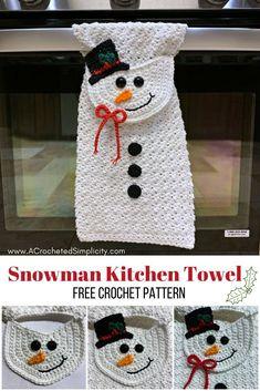 Free Crochet Towel Pattern - Snowman Kitchen Towel by A Crocheted Simplicity simplicity snowman towel Free Crochet Pattern - Snowman Kitchen Towel Crochet Dish Towels, Crochet Towel Topper, Crochet Kitchen Towels, Crochet Potholders, Crochet Dishcloth Patterns, Knit Kitchen Towel Pattern, Knit Dishcloth, Crochet Home, Crochet Gifts