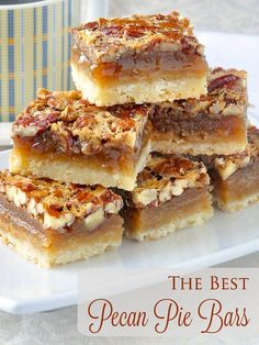 The Best Pecan Pie Bars. This easy recipe includes a simple shortbread bottom and a one bowl mix & pour topping. Tips for baking and cutting them are included.