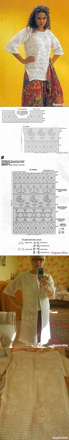 Sanat fileto tarafta kovanlar 3  4 ve yarıklar ile Openwork kazak.  Kanca.  - Örme moda + BAYAN NEMODELNYH için - Ana Sayfa Moms Filet Crochet, Crochet Stitches Chart, Crochet Diagram, Crochet Basics, Irish Crochet, Crochet Patterns, Crochet Cardigan, Crochet Shawl, Crochet Lace