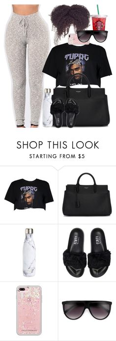 """""""Lazy ass"""" by lexusssh ❤ liked on Polyvore featuring Boohoo, Yves Saint Laurent, S'well, Puma and Rebecca Minkoff"""