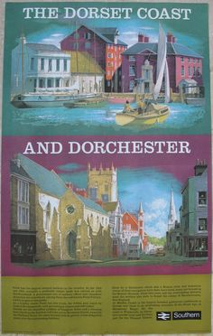 The Dorset Coast and Dorchester, by Reginald Lander. At the top is a depiction of Poole harbour, one of the largest natural harbours in England. Underneath is the main street through the county town of Dorchester, with the historic St Peter's Church in the centre. The church was significantly restored in the 1850s by J Hicks and the local novelist Thomas Hardy. Original Vintage Railway Poster available on originalrailwayposters.co.uk