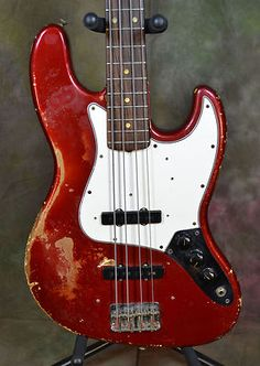 1965 Fender Jazz Bass Guitar Candy Apple Red Real Player