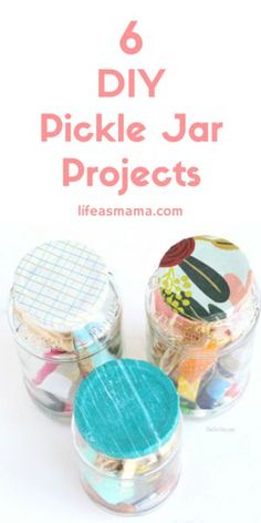"""If you're """"in a pickle"""" and can't think of a way to reuse those empty pickle jars collecting dust on your shelves, try one of these pickle jar crafts! So cute, you'd never even know how they started!"""