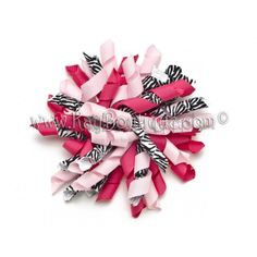 girls hair, wholesale bows, hair clips, hair accessories for girls, wholesale girls : Hot Pink Zebra Korker Bow $1.79