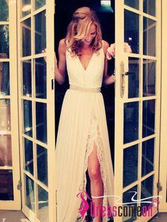 Custom Made A-Line V Neck Backless Slit Wedding Dresses ,Beach Wedding Dress,White Wedding Dresses,V-neck Lace Chiffon Wedding Dresses TS112