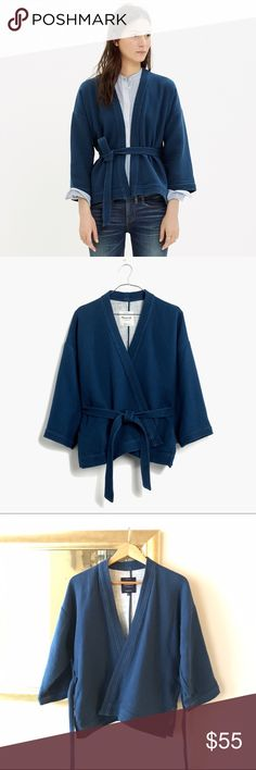 Madewell Kimono Swing Jacket XS In excellent condition! Meant for an oversized fit. Nice unique layering piece. Size XS. 🚫Trades 🚫Paypal   Inspired by a vintage kimono, this swingy wrap jacket is made of a special bonded fabric that is textured on the outside and tee-soft on the inside. Cool, cozy and cropped, it's made to be paired with high-waisted jeans or skirts. Madewell Jackets & Coats