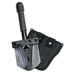 All-Purpose Survival Tool. This heavy-duty steel tool is 8 tools in 1. It has a shovel, hammer, saw, hatchet, bottle opener, nail puller, and a wrench. Unscrew the built-in calibrated compass to find an emergency survival kit in a waterproof bag. Included are matches, fishhooks and line, nails and more.