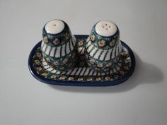 Vintage Colorful Polish Poland Pottery Salt and Pepper Shakers Hand made in Poland
