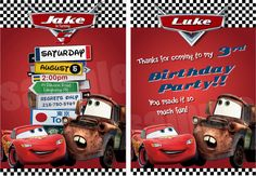 Disney Cars Birthday Party Invitation And Thank You Card - Cars Invitations - Cars DIY Printable Invitation