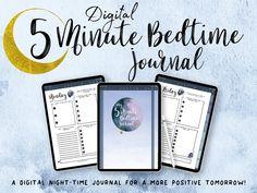 Digital 5 Minute Bedtime Journal, Gratitude Journal, Law of Attraction, Manifestation Planner, Evening Planner, Positivity Planner