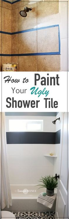 How to Paint Shower Tile An inexpensive way to update any ugly shower tile on a budget