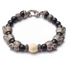 William Henry Sterling Silver Skull Bracelet