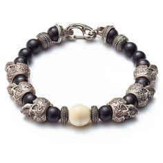 William Henry Sterling Silver Skull Bracelet