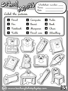 School Objects - Worksheet 1 (B&W version)
