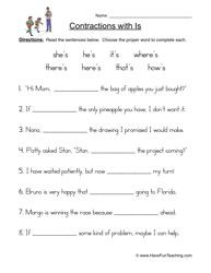 Contractions Worksheet | Pinterest | Worksheets, Language arts and ...