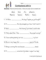 Printables Free Printable Contraction Worksheets free printables for 4th grade science printable contraction contractions worksheet apostrophe