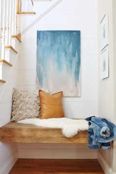 DIY Floating Bench-Modern Farmhouse Nook. Minwax EArly American stain.