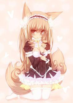✮ ANIME ART ✮ kitsune. . .fox girl. . .fox ears. . .fox tail. . .dress. . .lace. . .ruffles. . .bows. . .headdress. . .long hair. . .moe. . .cute. . .kawaii