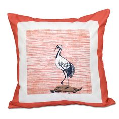 "Beachcrest Home Surrey Sandbar Animal Print Throw Pillow Size: 20"" H x 20"" W, Color: Coral"