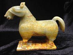 Old Chinese Nephrite Hetian White Jade Horse Statue Carving - w/ Jade Skin #155