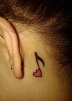 Music Note With Heart Back Ear Tattoo - Ear Tattoo Designs Tribal Neck Tattoos, Feather Tattoos, Foot Tattoos, Small Tattoos, Ear Tattoos, Tatoos, Music Tattoo Designs, Tattoo Designs For Girls, Music Tattoos