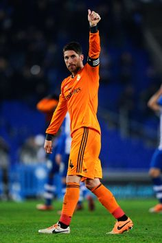 Sergio Ramos celebrates at the end of the La Liga match between RCD Espanyol and Real Madrid CF at Cornellà-El Prat Stadium on January 12, 2014 in Barcelona, Spain.