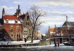 Willem Koekkoek (1839-1895)  -  A View in a Town in Winter with Skatersona Frozen Canal  (562x799)