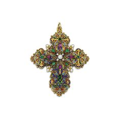 GEM-SET, ENAMEL AND DIAMOND PENDANT, CIRCA 1890 Designed as a Latin cross, the front and reverse decorated with polychrome enamel, accented with oval rubies, variously shaped emeralds, seed pearls and circular-cut and rose diamonds.