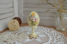 Wooden Easter egg on a support, Easter egg in vintage style, Easter egg on the leg, Easter gift, decoupage, vintage style