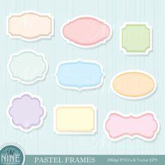 Pastel FRAMES Clip Art, INSTANT DOWNLOAD, Clipart Vector File Set of 9 Pink Blue Purple Green Orange Yellow Frame Graphics