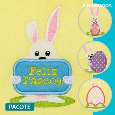 Pacote de Bordados Coelhos da Páscoa em Aplique (cód. 122998) Janome, Kids Rugs, Decor, Art, Happy Easter Day, Rabbits, Needlepoint, Appliques, Dekoration
