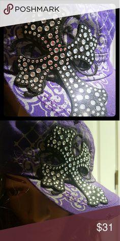 ????NEW ???? Purple Cross Rhinestone Hat Beautiful purple hat with rhinestones cross Distressed edges Trendy styles Adjustable  ??????New?????? Accessories Hats