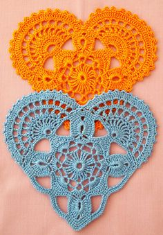 FREE SHIPPING WORLDWIDE  Crochet hearts - orange or blue or other colour by agreement. Beautiful radiant colours. The price is for 1 pcs. Can be