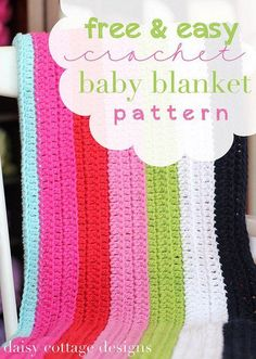 Easy Baby Blanket Crochet Pattern - Daisy Cottage Designs - Lilly is Love Crochet Crafts, Easy Crochet, Crochet Projects, Free Crochet, Knit Crochet, Crochet Stitch, Double Crochet, Sewing Projects, Crochet Ideas