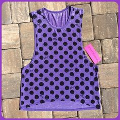 ✨HP✨BETSEY JOHNSON PERFORMANCE TANK Purple polka dot front BETSEY JOHNSON Performance tank style top , 57% polyester 43%cotton NWT✨HP by @twinkle1076✨ Betsey Johnson Tops Tank Tops
