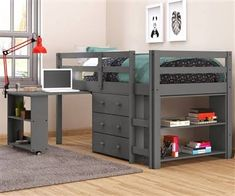 Caden Grey Kid's Furniture Set with Twin Loft Bed, Desk, Dresser & Bookcase in One Kids Furniture Sets, Bedroom Furniture Stores, Plywood Furniture, Furniture Nyc, Furniture Market, Furniture Outlet, Cheap Furniture, Discount Furniture, Furniture Design