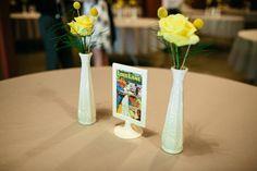 comic book wedding table decor photo by sunshinecharlie.com #comicbookwedding #yellowandgrey