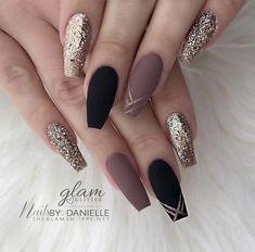 ideas of matte black coffin nails, matte black nails; - ideas of matte black coffin nails, matte black nails; Cute Acrylic Nails, Acrylic Nail Designs, Nail Art Designs, Black Nail Designs, Acrylic Nails For Fall, Coffin Nail Designs, Coffin Nails Designs Kylie Jenner, Autumn Nails, Spring Nails