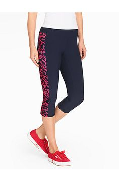 Talbots - Pro Stretch Crop - Cactus Bloom Print | Active -T by Talbots |