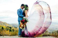 Burgundy Watercolor Wedding Dress