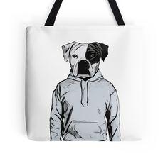 Cool Dog Tote Bag by Nicklas Gustafsson #dog #bulldog #boxer #human #illustration #hoody #hoodie #totebag #bag
