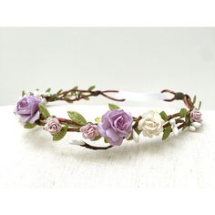 Lilac purple white rose flower crown/ headband wedding girl rustic... ($32) ❤ liked on Polyvore featuring accessories, hair accessories, floral garland, purple headband, boho flower crown, white garland and rose headbands