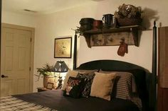 Love this primitive bed room!