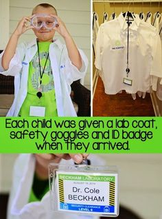 We gave each kid their own lab coat, goggles, and ID badge at our Mad Science Party. You can read about all the details over on the Jackso...