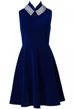Blue Sleeveless Rhinestone Embellished Ruffles Dress