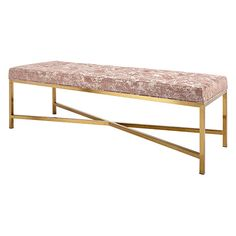 Jaxson Upholstered Satin Brass Bench in Miso Silhouette Living Room Bench, Living Room Furniture, Dining Bench, Padded Bench, Upholstered Bench, Furniture Upholstery, Metal Furniture, End Of Bed Bench, Leather Bench