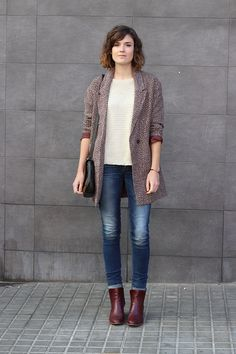 Boyfriend coat & burgundy shoes