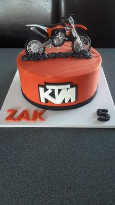 Chocolate Mud Ktm Motorbike Cake In The Ktm Orange Black