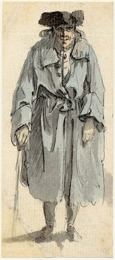 Sketches from Edinburgh - after 1745. This sketch features a large blue coat that is too big for the man, it's been tied at the waist, has deep loose cuffs and button holes onto the collar which were probably functional. He has a lighter coloured waistcoat buttoned up and a neckcloth. He wears a tri-corne hat.